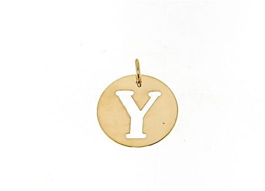 18K YELLOW GOLD LUSTER ROUND MEDAL WITH LETTER Y MADE IN ITALY DIAMETER 0.5 IN