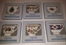 """Vintage Set 6 Spode Flat Teacup Shaped Ornament Floral Patterns box 2 ½""""... - $47.51"""