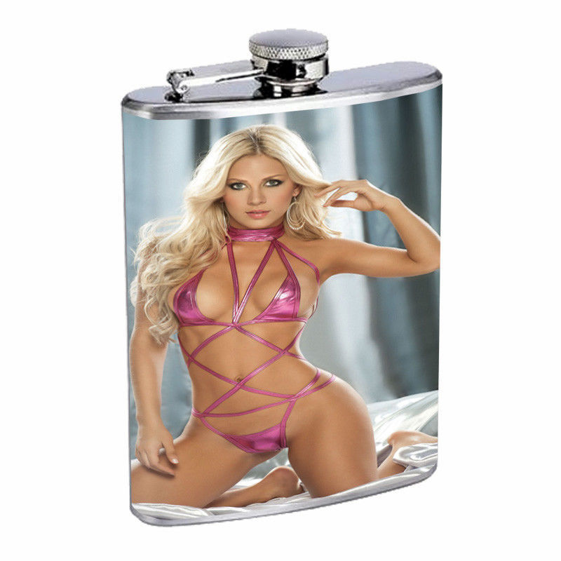 Moroccan Pin Up Girls D13 Flask 8oz Stainless Steel Hip Drinking Whiskey