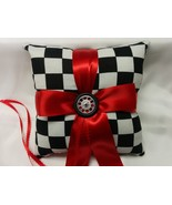 RACING RING PILLOW and or Basket Racing Nas car black White Checks check... - $27.95