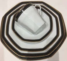 Christopher Stuart 5 Piece Place Setting Service for 1- Black Dress Pattern - $29.69