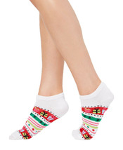Charter Club Women's Christmas Holiday Gift White Red Stripe Low-Cut Socks 9-11