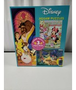 Disney Mickey Minnie Beauty and The Best Jigsaw Puzzle 3 in 1 Pack Glue 2020 New - $38.04