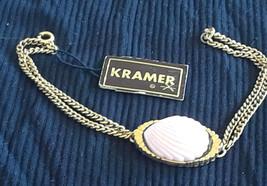 Vintage NOS with TAg KRAMER Pink Scallop Shell Gold Tone Bracelet - $30.00