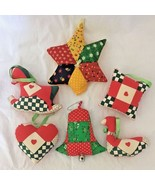 6 Folk Art Primitive Quilt Fabric Christmas Ornaments w Hearts Patchwork... - $14.95