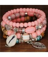4pcs/set Bohemian Shell Charm Bracelets Bangles For Women Fashion Elasti... - $14.58