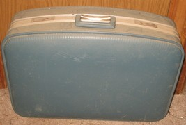 "Vintage Blue 22.75"" x 16"" x 6.25"" Suitcase Hard Side Retro Travel Luggag... - $17.82"
