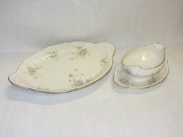 """Theodore Haviland """"Annette"""" Vtg Oval Platter & Gravy Boat Pink Blue Flowers - $59.39"""
