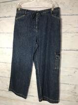 Charter Club Womens Flood Wide Leg Capri Pant  Blue Denim Jean Size 14 - $11.30
