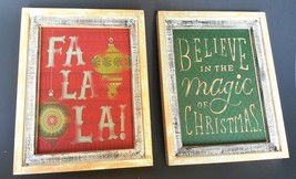 Hallmark Rustic Wall Art  Believe in the Magic of Christmas Fa La La Set 2 - $19.78
