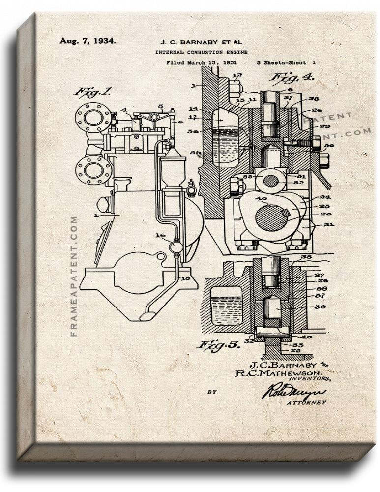 Primary image for Internal Combustion Engine Patent Print Old Look on Canvas
