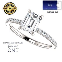 1.25 Carat Forever One Emerald Cut Moissanite Ring 14K Gold (Charles&Col... - $795.00