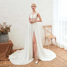 Women's Long Halter Floral Embroidered Tulle Wedding Dress Bridal Gown image 1