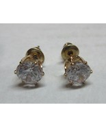 Earrings Cubic Zirconia Solitaire 1/2 KT Gold Hypoallergenic Post NWT BV... - $10.87