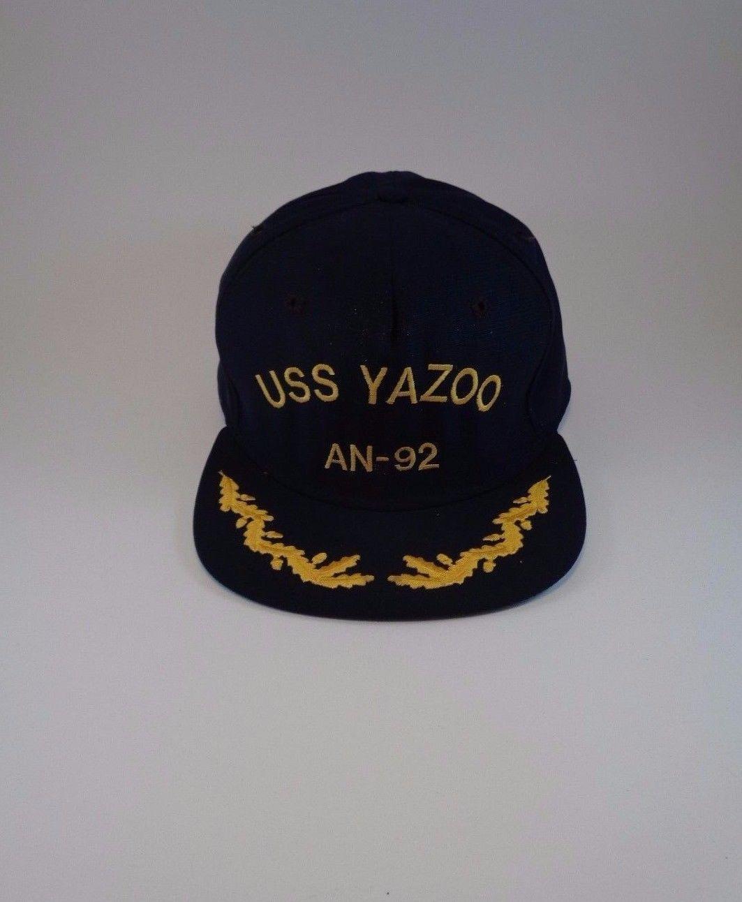 USS YAZOO AN-92 Dark Blue Black Cap Hat One Size Military Ship USN Navy