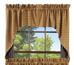 country cabin primitive rustic farmhouse Cambridge Mustard Swag curtains set - $39.95
