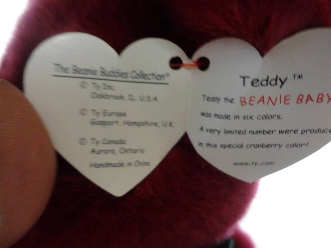 TY Beanie Buddy Teddy 1998 Cranberry Bear with Green Ribbon