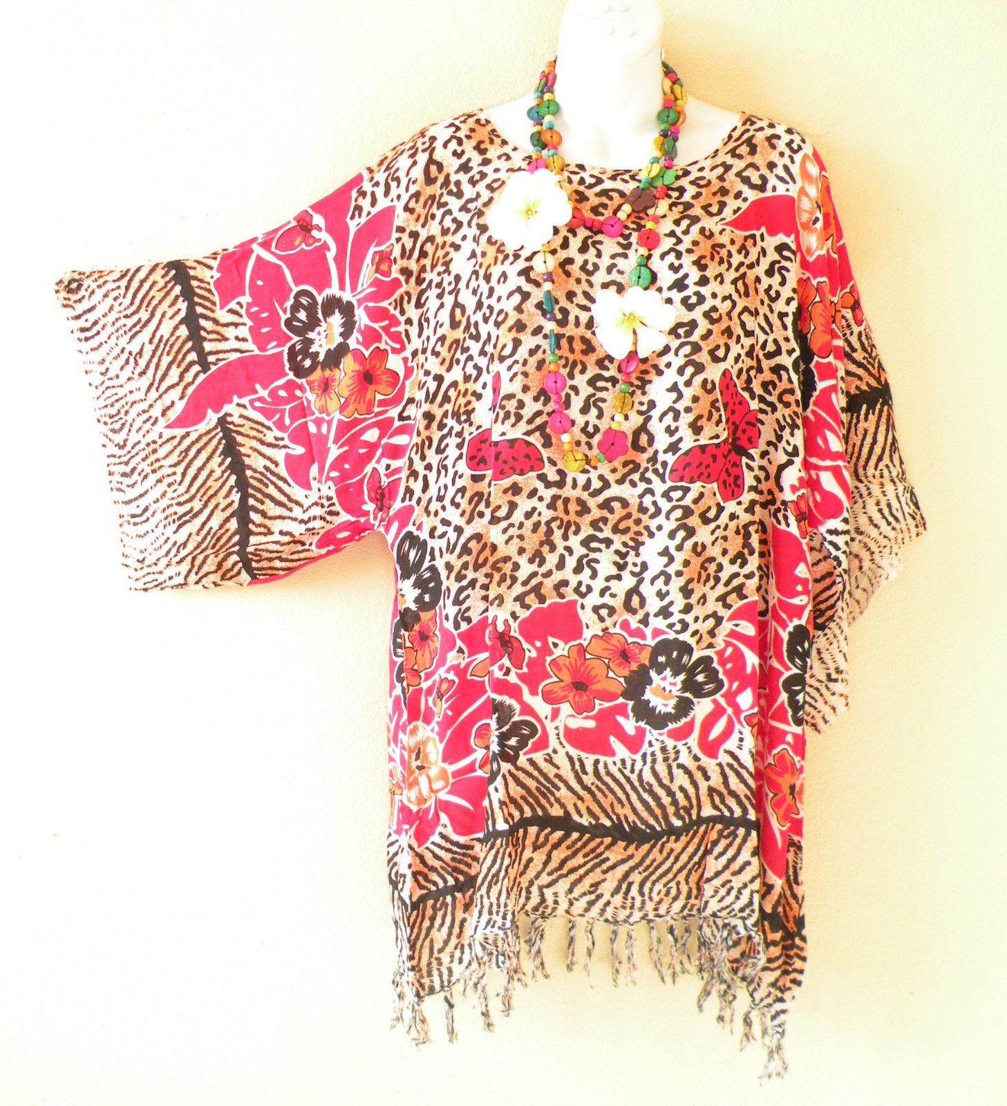 KB659 Butterfly Free Size Kaftan Poncho Kimono Tunic Blouse Top - M L, XL, 1X
