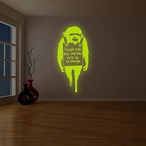 """( 46"""" x 94"""" ) Banksy Glowing Vinyl Wall Decal Monkey Quote Laugh Now / Glow in D - $277.48"""