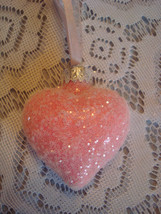 Shabby Pink Rose Glass Heart Ornament Feather Tree Valentines Day Crysta... - $14.99