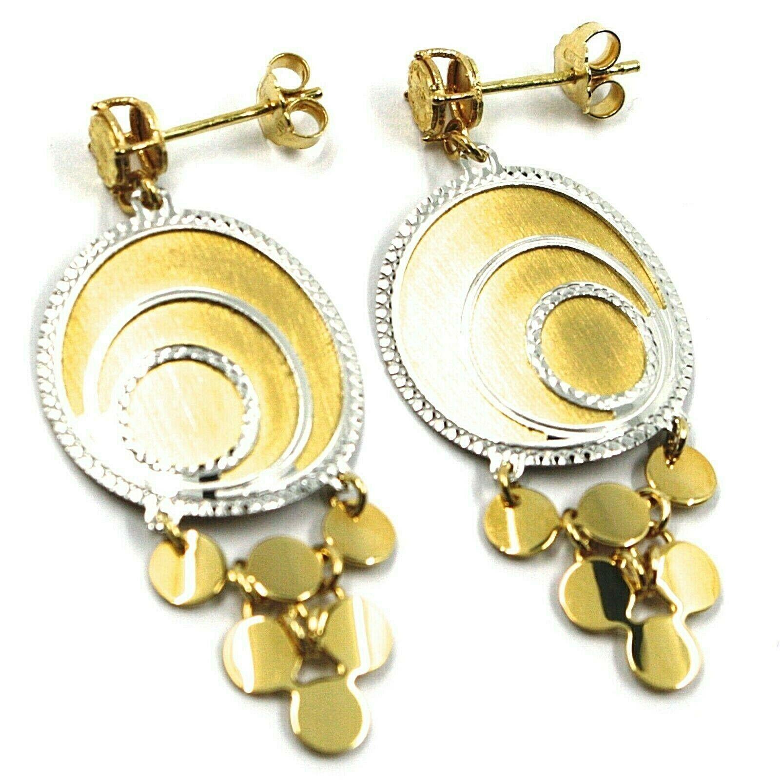 18K YELLOW WHITE GOLD PENDANT EARRINGS, SATIN FRAMED SPIRAL DISC, BUNCH, 4.5 cm
