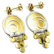 18K YELLOW WHITE GOLD PENDANT EARRINGS, SATIN FRAMED SPIRAL DISC, BUNCH, 4.5 cm image 1