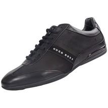 Hugo Boss Men's Premium Sport Leather Sneakers Shoes Space Select Black - $189.95