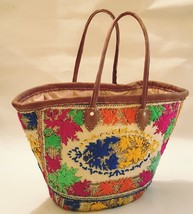Sale Hand Embroidery Basket with hand sewing leather(one of kind)
