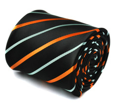 Frederick Thomas Designer Mens Tie - Black - Burnt Orange & Light Blue S... - $16.49