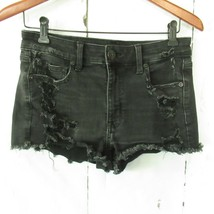 American Eagle Jeans Shorts Hi Rise Shortie 6 Black Destroyed Stretch  - $13.99