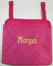 Thirty-One Oh Snap Pink Cross Pop Hanging Fabric Bin Pouch Organizer Name MORGAN - $14.50