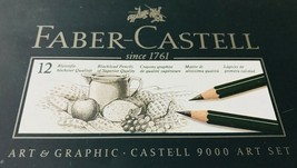 Faber Castell Pencils Set 9000 Water-Based Varnish 12 in Box Art Graphic Germany - $19.34