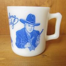 Vintage 1950s Hopalong Cassidy Milk Glass Mug Cup Western Hazel Atlas, Blue - $29.99