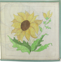 1970's Hand Painted Needlepoint Pretty Sunflower 13-Count Canvas - $33.30