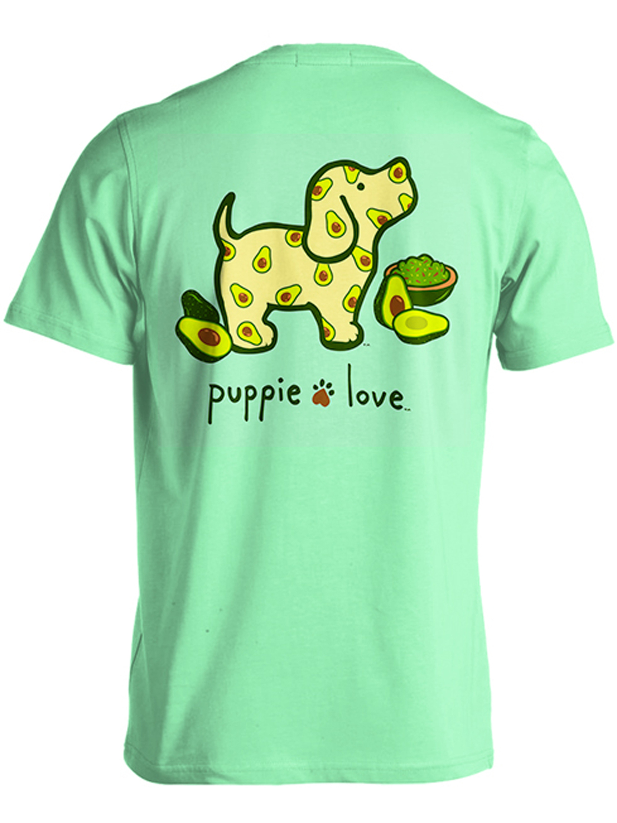 Puppie Love Rescue Dog Adult Unisex Short Sleeve Cotton Tee,Avocado Pup