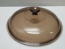 "Vintage PYREX CORNING WARE Amber VISIONS ID  9 3/4"" Brown Glass Lid ONLY - $9.89"