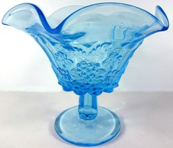 "Westmoreland Glass Brandywine Blue Paneled Grape 6""t Ruffled Edge Open Compote - $69.99"