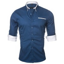 2018 New Arrival Autumn and Winter Men's Casual Solid Color Shirt Men's Cotton L - $40.60