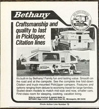 1979 Bethany Campers PRINT AD PickerUpper and Citation Lines - $8.10