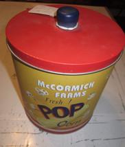 vintage popcorn tin yellow  decor lid mccormick farms country farmhouse can - £6.53 GBP