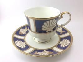 Mikasa Cathy Hardwick Cobalt Blue Fish and Shell A6501 Tea Cup & Saucer Set - $7.91