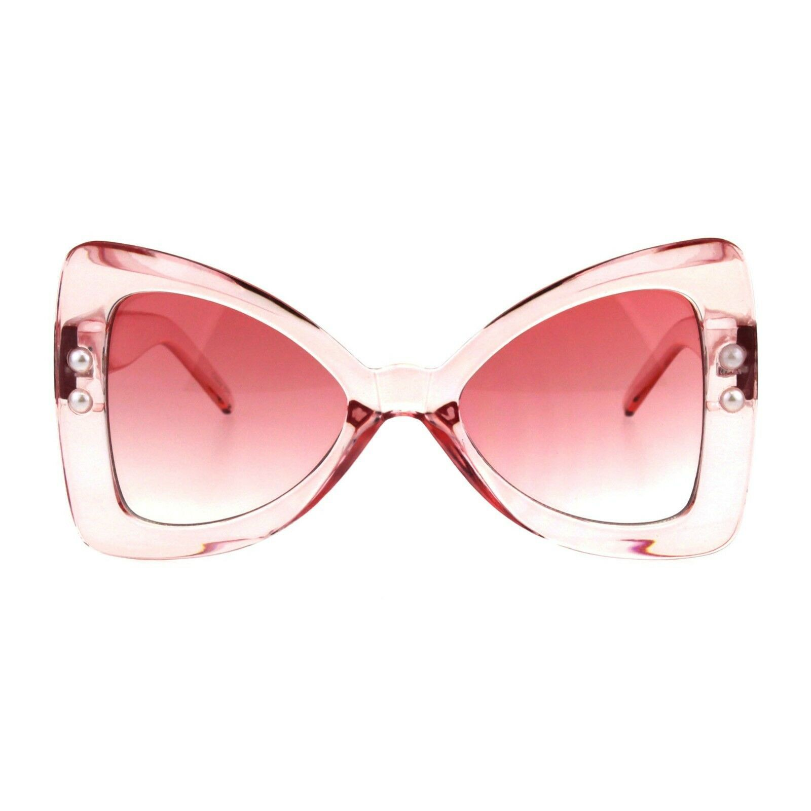 Butterfly Ribbon Bow Pearl Frame Sunglasses Womens Oversized Shades