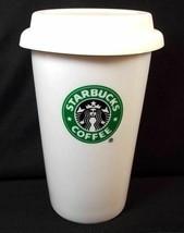 Starbucks coffee White travel tumbler Siren Logo silicone lid 2009 10 oz - $9.70