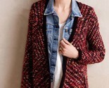 NWT ANTHROPOLOGIE KEAVY JACQUARD RED JACKET CARDIGAN SWEATER by MOTH XS