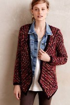 NWT ANTHROPOLOGIE KEAVY JACQUARD RED JACKET CARDIGAN SWEATER by MOTH XS - €50,13 EUR