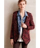 NWT ANTHROPOLOGIE KEAVY JACQUARD RED JACKET CARDIGAN SWEATER by MOTH XS - €49,89 EUR
