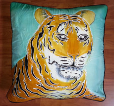 New Handpainted Batik Tiger 23X23 Inch Cotton Pillow Cover Bali - $24.31