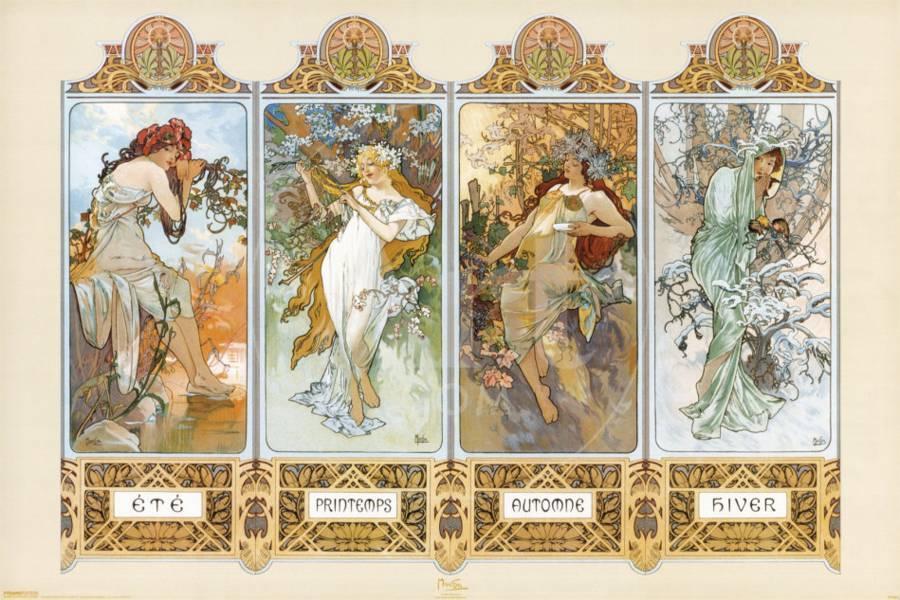 Alphonse mucha the four seasons poster 24x36