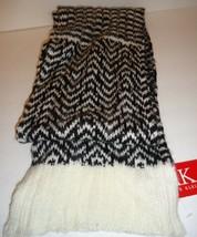 Ladies Women's Long Anne Klein Blk/Ivory Scarf, O/S - $37.12