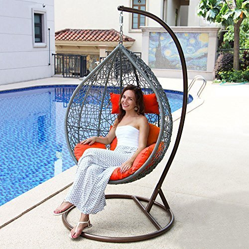 Island Gale Hanging Basket Chair Outdoor Front Porch Furniture with Stand and Cu